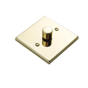 View Volex Brass Effect 1-Gang Push On/Off with Rotary Dimming 400W Dimmer Switch details