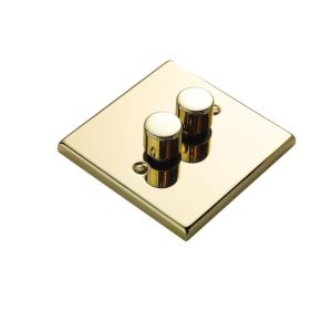 View Volex Brass Effect 2-Gang Push On/Off with Rotary Dimming 250W Dimmer Switch details