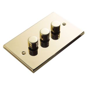 View Volex Brass Effect Gold 3-Gang Push On/Off with Rotary Dimming Triple Dimmer Switch details