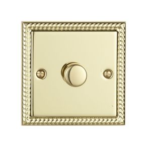 View Volex 1-Gang 2-Way Brass Effect Single Dimmer Switch details
