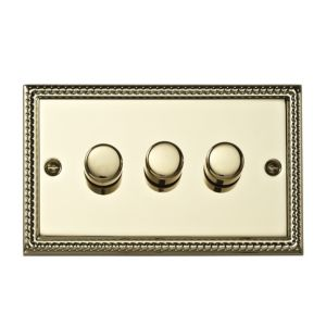View Volex Brass Effect 3-Gang Push On/Off with Rotary Dimming 250W Dimmer Switch details