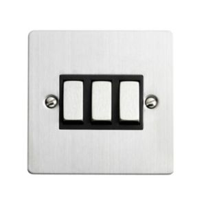 View Volex 3-Gang 2-Way 10A Silver Brushed Triple Light Switch details