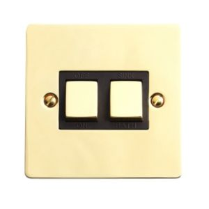 View Volex 1-Gang 20A Polished Brass Effect Bath/Sink Switch Faceplate details