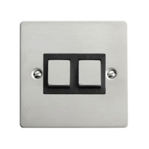 View Volex Low Profile Screwed Brushed Rocker Single Switch 1-Gang DP 20A details