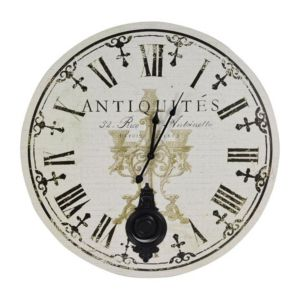 View Antique Vintage Black & White Round Wall Clock details