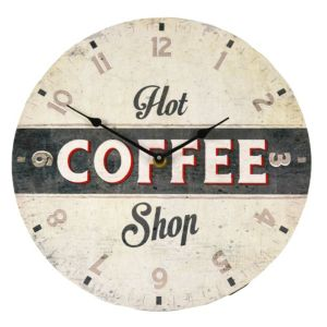View Coffee Shop Matt Multicolour Round Wall Clock details