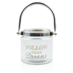 View 'Follow Your Dreams' Glass & Metal Lantern Tea Light Holder, Small details