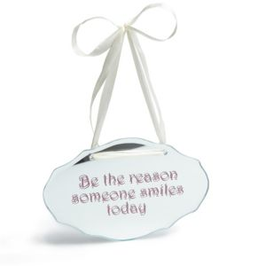 View Mirrored 'Be The Reason' Glass Hanging Plaque details