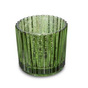 Green Mercurised Ridged Glass Tea Light Holder