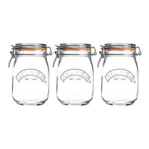 Kilner 1L Glass Clip Top Jar  Set of 3