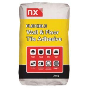 Image of NX Flexible Powder Wall & floor tile adhesive Grey 20 kg