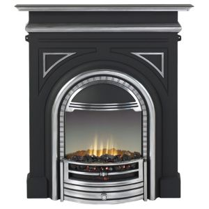 View Dimplex Cast Aluminium Surround, Polished Detail Burlington Electric Flat Against Wall Electric Fire Suite, Chrome Effect details