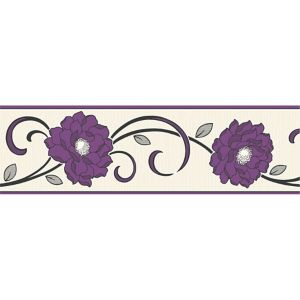 View Florentina Cream & Plum Floral Border details