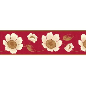 View Carissa Cream & Red Floral Border details