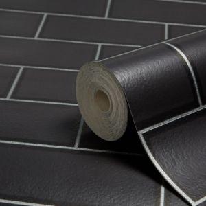 Image of Fine décor Ceramica Black Subway tile Wallpaper