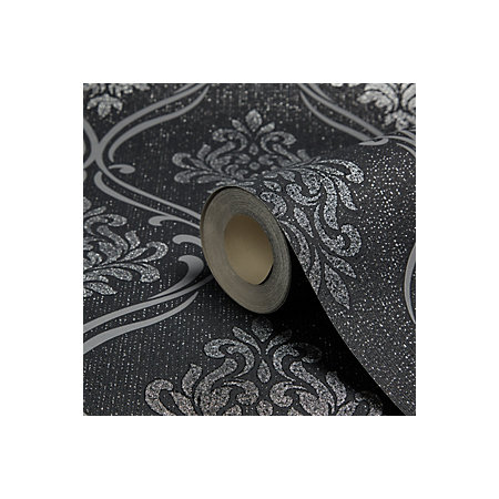 Fine D Cor Winchester Black Silver Damask Wallpaper