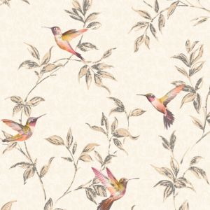 Image of Fine décor Beige Birds Glitter Wallpaper