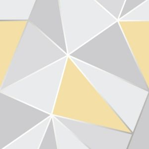 Image of Fine décor Grey & yellow Geometric Wallpaper