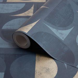Image of Fine décor Seville Gold & navy Geometric Metallic Wallpaper