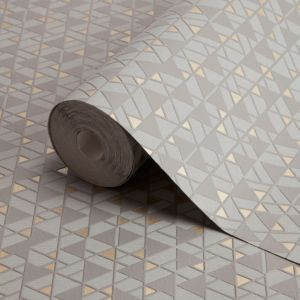 Image of Fine décor Shelby Charcoal & gold Geometric Metallic Wallpaper