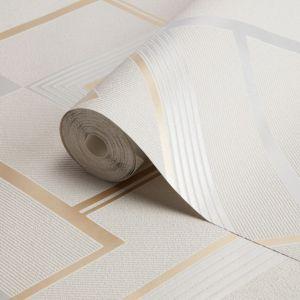 Image of Fine décor Flemming Gold & grey Geometric Metallic Wallpaper