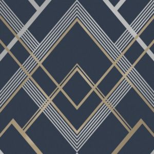 Image of Fine décor Flemming Gold & navy Geometric Metallic Wallpaper