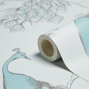 Fine Décor Empress Teal & Duck Egg Foliage & Birds Glitter Effect Wallpaper