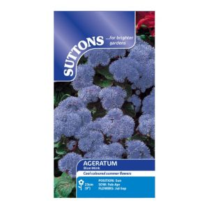Image of Suttons Ageratum Seeds Blue Mink Mix