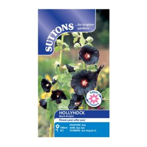 Suttons Hollyhock Seeds  Black Knight Mix