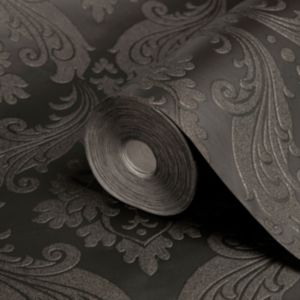 View Vintage Damask Black Flock Wallpaper details