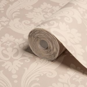 View Vintage Beige Damask Flock Wallpaper details