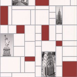 View New York City Tile Red & White Wallpaper details