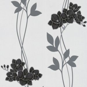 View Serene Ornamental Orchid Black Wallpaper details