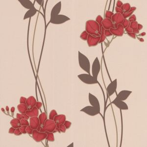 View Serene Ornamental Orchid Cream & Red Wallpaper details