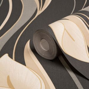 View Peace Lilies Black & Cream Floral Wallpaper details
