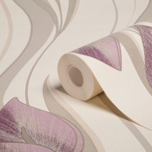 View Peace Lilies Cream & Plum Floral Wallpaper details