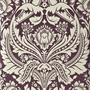 Image of Desire Cream & Damson Damask Wallpaper