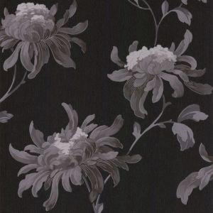 Image of Graham & Brown Julien MacDonald Fabulous Black & grey Floral Glitter Wallpaper