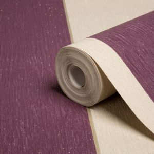 View Glitz Striped Cappuccino & Damson Wallpaper details