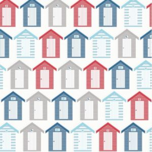 Graham & Brown Contour Red  Blue & White Beside The Seaside Kitchen & Bathroom Wallpaper