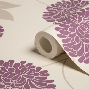 View Bronte Floral Lilac & White Wallpaper details