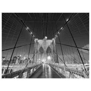 View New York Bridge Mono Wall Art (W)80cm x (H)60cm details