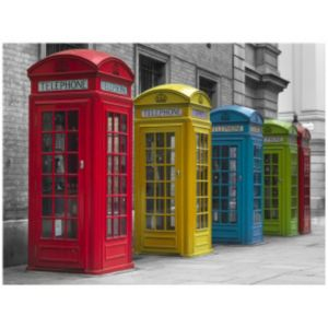 View Telephone Boxes Blue, Green, Red & Yellow Wall Art (W)82.5cm x (H)62.5cm details