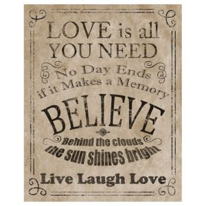 View Love Is All You Need Black, Beige & Dark Grey Wall Art (W)40cm (H)50cm details