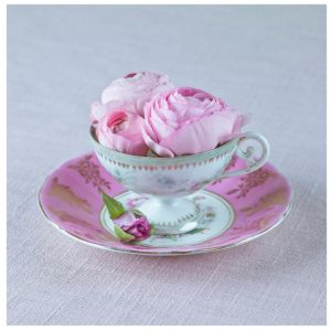View Pretty Tea Cup Pink & White Canvas (W)425mm x (H)425mm details