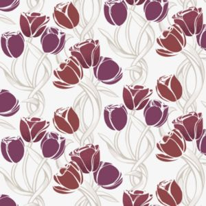 View Chantanooga Tulips Purple, Red & White Floral Wallpaper details