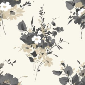 View Graham & Brown Blue Label Spring Bouquet Grey, Taupe & White Wallpaper details