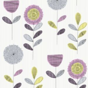 View Flower Sketch Pink, White & Yellow Matt Wallpaper details