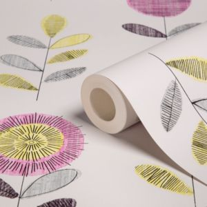 View Flower Sketch Pink, White & Yellow Floral Wallpaper details