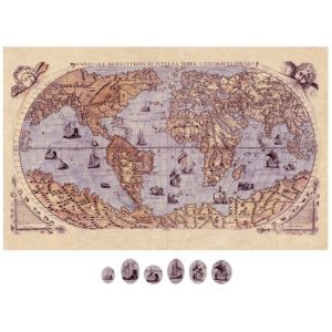 View Vintage Map Beige, Blue & Brown Magnetic Canvas & Magnets (W)825mm x (H)525mm details